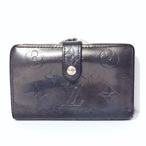Louis Vuitton black monogram leather snap wallet